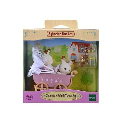 Sylvanian Families Chocolate Rabbit Twins with Pram