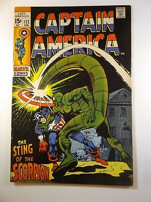 """Captain America #122  """"The Sting of the Scorpion!"""" Fine Condition!! Nice Book!!!"""