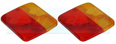 2 x RADEX SQUARE REPLACEMENT LENS FOR 4 FUNCTION SMALL REAR TRAILER LAMPS LIGHTS