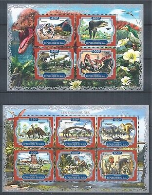 Republique Du Mali 2017 Mini Sheet Set Mnh Dinosaurier Dinosaurs Dinosaures