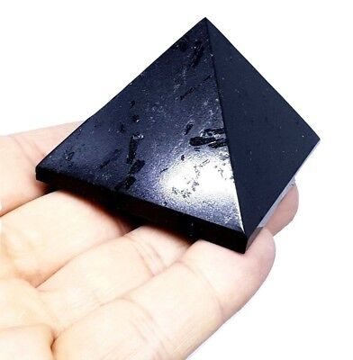 Pure Black Tourmaline Pyramid Reiki Charged Medium Crystal Gemstone Protective