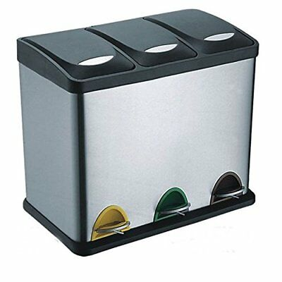 24L Stainless Steel Multi 3 - Compartment Large Recycle Pedal Bin Recycling 3x8L