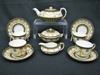 1880's Classical Revival Wedgwood Porcelain 11 Piece Tea Set; Green & Gilt