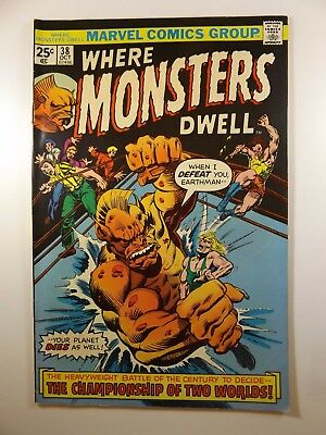 """Where Monsters Dwell #38 """"The Championship of Two Worlds!"""" Sharp Fine- Condition"""