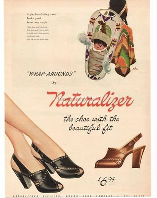 1945 NATURALIZER Wrap-Around Shoes Open Toe Papoose art by Bolin VTG PRINT AD