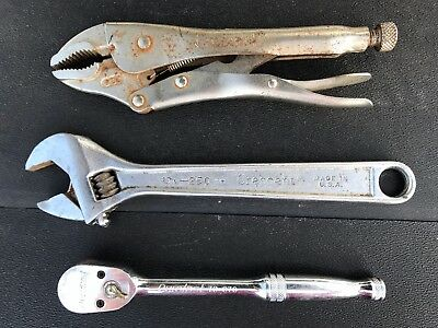 """10"""" Crescent Wrench 10"""" Crescent Curved Jaw Locking Pliers Duralast 3/8"""" ratchet"""