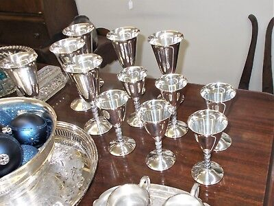 "Lot 6 (5"") and 6 (7"")  Silver plate Wine Goblets Grape Vine stims GF. B. Rogers"