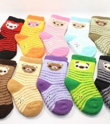 Fleece Thick Warm Babies Baby Girls Boys Fluffy Socks Super Soft Size 0-1 Year