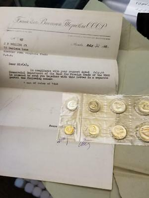 1968 9 Coin Mint Set From Russia in original envelope with Wax Stamps & Letter