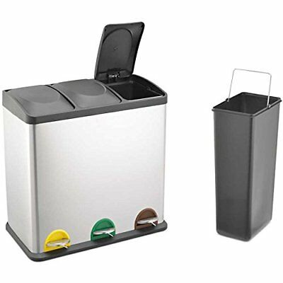 60L Stainless Steel Multi 3 Compartment Large Recycle Pedal Bin Recycling office