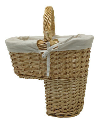 Buff Willow Wicker Traditional Stair Step Basket Hall Storage Natural Lining