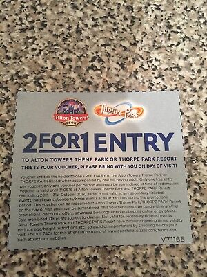 2for1 Entry To Thorpe Park Or Alton Towers