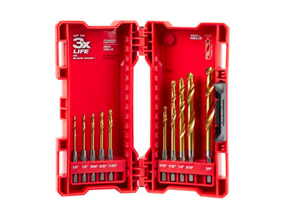 Milwaukee Shockwave Titanium Red Helix Drill Bit Set 10 Piece Twist Bits Case