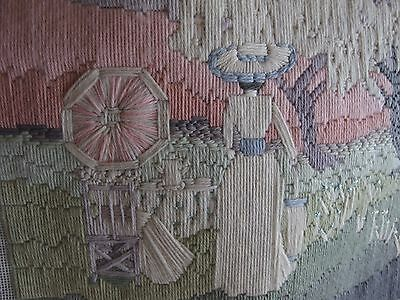 vintage Hand Stitched worked tapestry embroidery cushion front picture