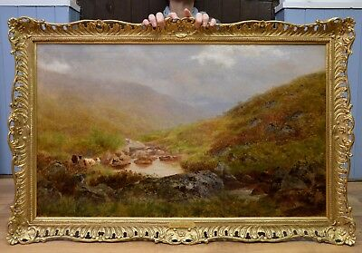 Large Fine Antigue 19thC Oil Painting of Dartmoor Landscape Sherlock Holmes