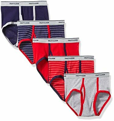 Fruit Of The Loom Boys' Fashion Brief (Pack of 5), Stripes and Solids, Medium