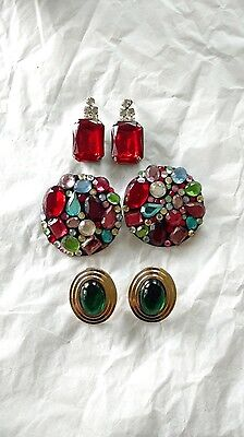 Vintage 1980s LARGE RED RHINESTONE, GREEN, JEWELED PIERCED EARRINGS, lot of 3