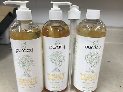 3 Bottles of Puracy Natural Baby Shampoo & Body Wash - Citrus Grove, 16 fl oz