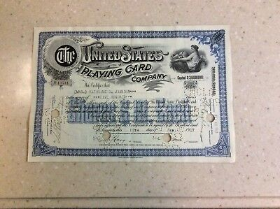 1927 Rare Stock Certificate The United States Playing Card Company No Reserve