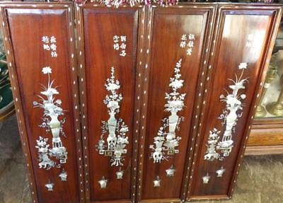 4 Stunning Asian Inlaid Mother of Pearl Wood Decorative Panels 4 seasons SUPERB!