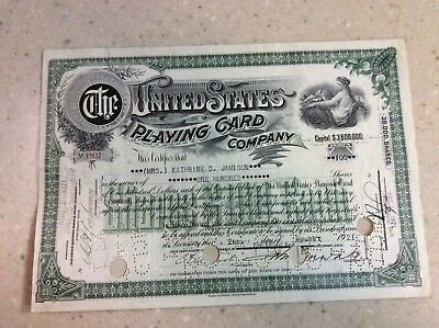 1921 Very Rare Stock Certificate The United States Playing Card Company