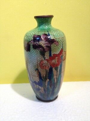 Beautiful Antique  Small Asian Japanese Cloisonne Bronze Vase Flowers