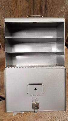 Vintage 1950'S Brumberger 3-Shelf 12 Slide Tray Carry Case Metal,Steel Box