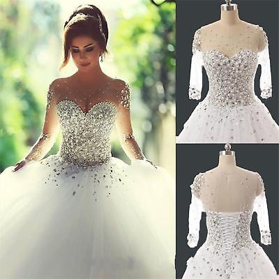 Beads New White Gorgeous Princess Wedding Dress Bridal Ball Gown Size:6-16