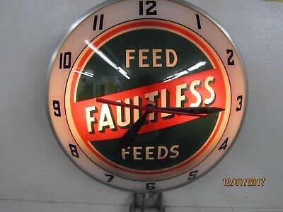 Rare Faultless Feed Double Bubble Advertising Light Up Clock