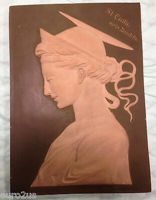 STUNNING Vintage Relief  PORTRAIT PLAQUE,  ON CLAY ,