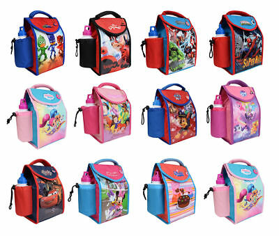 New Kids Boys Girls Character Insulated Lunch Bag & Drink Sport Water Bottle Set
