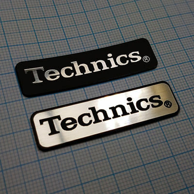 2 x TECHNICS - Aluminium Metallic Logo Sticker Badge - 48 mm / 14 mm