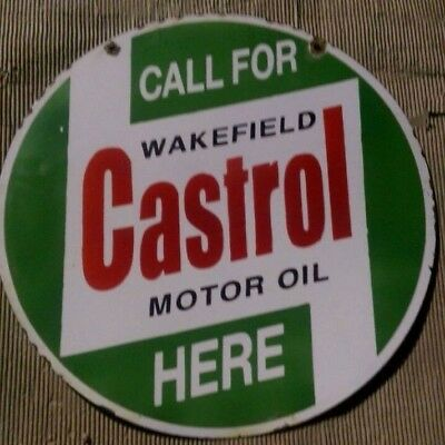 Castrol Motor Oil Wakefield Porcelain Enamel Sign 24 Inches Round Double Sided
