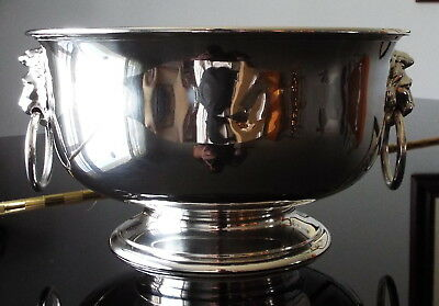 Crichton London George V Sterling Silver Footed Bowl w Lion form Ring Handles