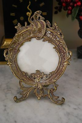 Wonderful Old Victorian Style Rococo Round Brass Or Bronze Cabinet Picture Frame