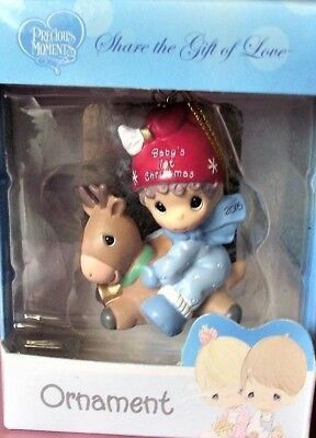 Precious Moments Christmas Ornament 2016 Baby's First Boy on Reindeer ; NEW