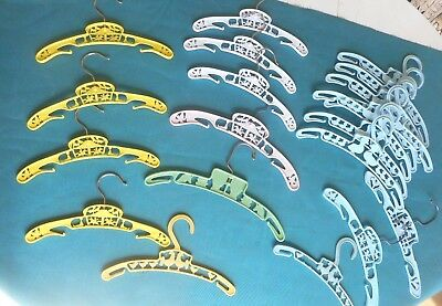 Vintage Child's Clothes Hangers  20 Assorted Plastic Hangers Blue,Yellow, White