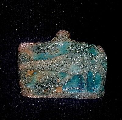RARE ANCIENT EGYPTIAN  FAIENCE GLASS EYE OF HORUS AMULET b. 600 - 300 B.C