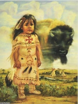 Leanin' Tree Blank Greeting Note Card Buffalo Child by Carol Theroux
