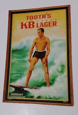 KB LAGER TOOTH'S beer postcard REPRO of 1930's Surfing Advert - unused