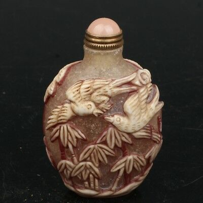 Chinese Exquisite Hand-carved bamboo bird flower pattern Glass snuff bottle