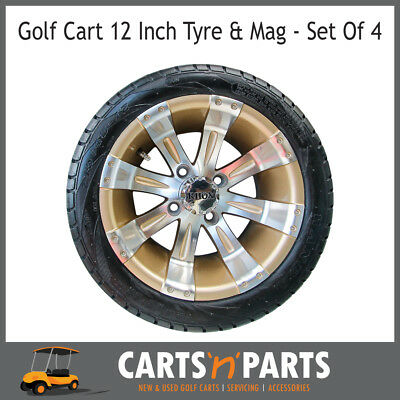 "Golf Cart Buggy Mags & Tyres -12"" Pearl & Silver RHOX centres"
