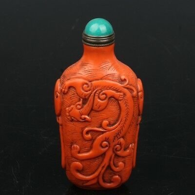 Chinese Exquisite Hand-carved brave troops pattern Glass snuff bottle