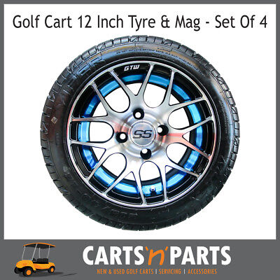 "Golf Cart Buggy Mags & Tyres -12"" Blue & Silver SS centres"