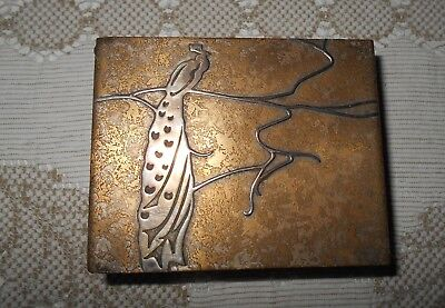 Antique Heintz 1912 AMS Sterling Silver on  Bronze Box,Humidor,Peacock