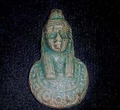 Rare Ancient Egyptian FAIENCE AMULET In the form of a woman a (1500–1000 BC