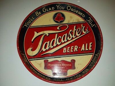 """Vintage Hard To Find Tadcaster Beer & Ale 12"""" Metal Tin Litho Tray Worcester Ma"""