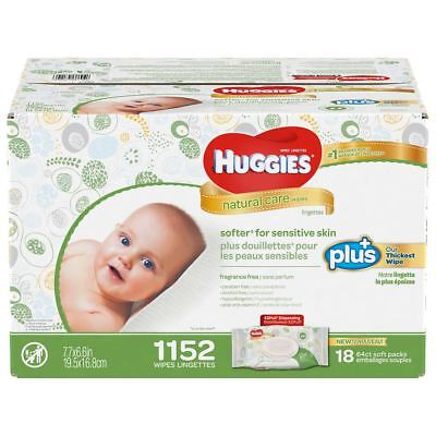 Huggies Natural Care Plus Baby Wipes Fragrance & Alcohal Free 1152 count New