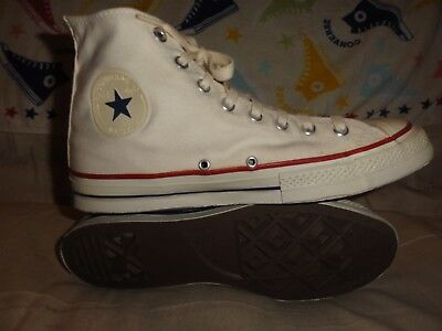 VINTAGE CONVERSE WHITE HIGH TOPS MADE IN USA SIZE 9.5 MENS 1960s PLASTIC PATCH