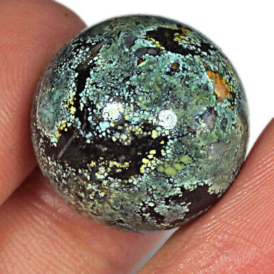 49CT 19mm 100% Natural Bi-colour Untreated American Turquoise Round Bead MZBS137